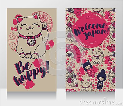 Banners for asian travels with traditional japanese souvenir - maneki neko