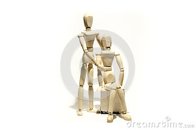 Wooden mannequin couple and wooden cube