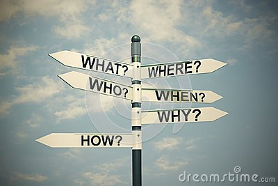 What, where, who, why, when, how-written with direction board.