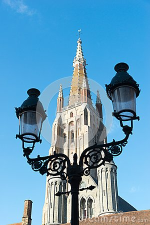 Tower of the church of Our Lady in the historical centre town of Bruges, Belgium