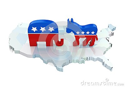 Democrat Donkey and Republican Elephant with America Map