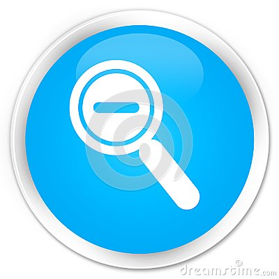 Zoom out icon premium cyan blue round button