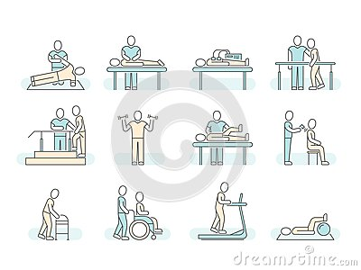 Massage therapy spa physiotherapy vector line medical icons. Therapeutic symbols