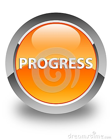 Progress glossy orange round button