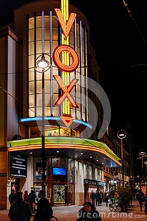 Iconic VOX neon sign on the Cinema entrance