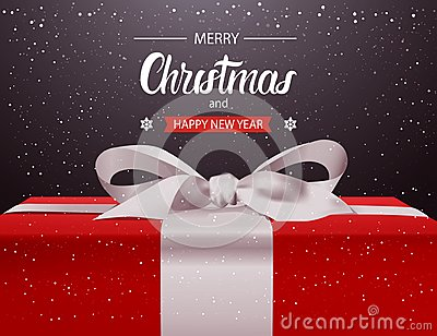 Merry Christmas And Happy New Year Background Red Gift Box With White Ribbon Bow Holiday Greeting Card Design
