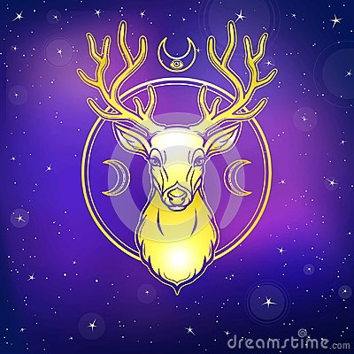 Mystical image of a deer. Symbols of the moon. Gold imitation. Background - the night star sky.
