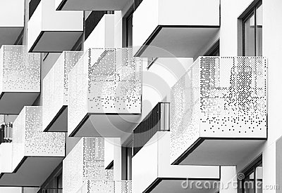 Modern black and white architectural abstract with balconies and