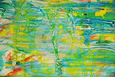 Yellow waxy spots and red blue, green, yellow pastel watercor spots, creative design