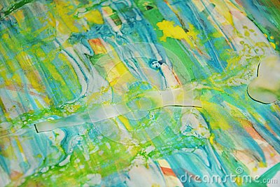 Yellow waxy spots blue, green, yellow pastel watercor spots, creative design