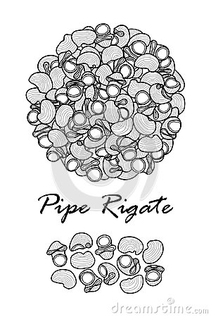 Poster design for traditional Italian pasta, Pipe Rigate in black outline and white plane on white background.