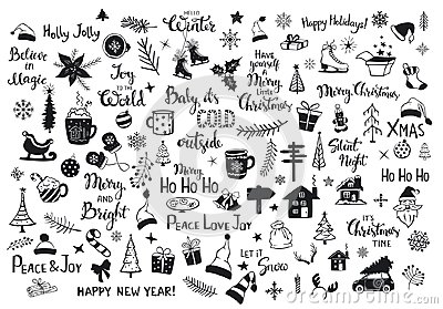 Collection of christmas new years decoration items silhouettes and outlined doodles