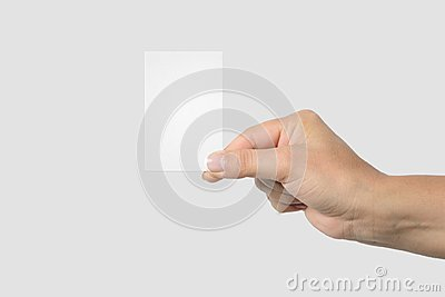 Mockup of female hand holding a Business Card on light grey background.