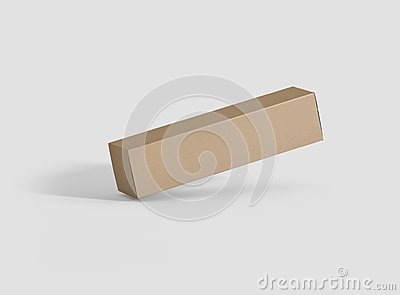 Photorealistic high quality Long Rectangle Kraft Package Box Mockup on light grey background.