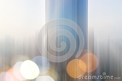 Abstract business modern city urban futuristic architecture background. Real estate concept, motion blur, reflection in