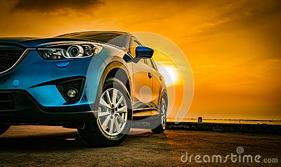 Blue compact SUV car with sport and modern design parked