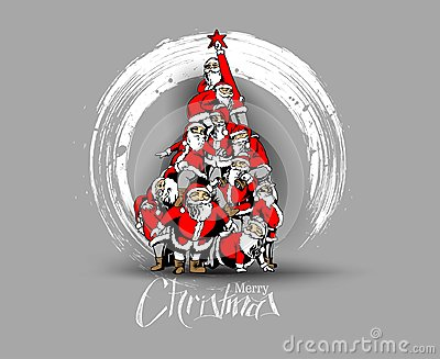 Christmas santa tree background Cartoon Style