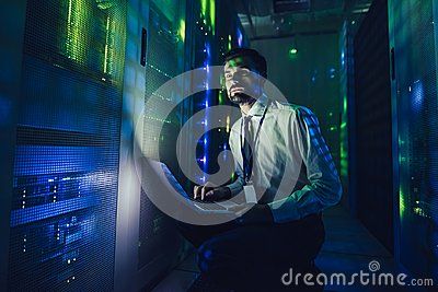 Man in data centre