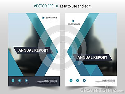 Blue abstract triangle annual report Brochure design template vector. Business Flyers infographic magazine poster.