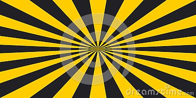 Stripe rays safety warning dangerous pop art style background, vector sign yellow and black rays, glow, Hazard symbol stripe rays