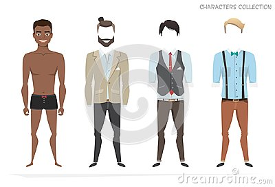 Clothing sets for black african american men. Constructor character.