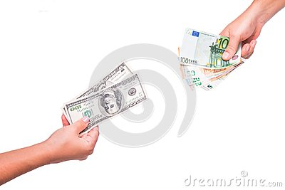 Hands exchange dollars for euros. People exchange currency, hands transmit money. Hand holds dollar and euro banknotes.