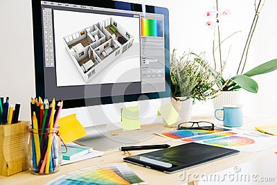stock image of graphic design studio
