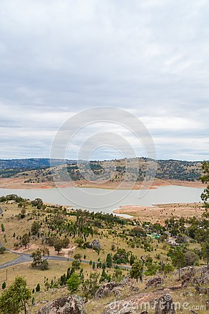 Australian outback landscape with lake