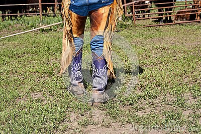Lower body of a cowboy in boots with spurs