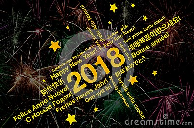 Happy new year 2018 word cloud in different languages greeting card with fireworks