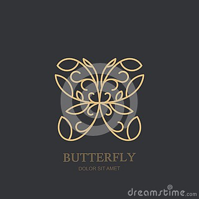 Vector logo or emblem with golden butterfly. Concept for luxury jewelry, accessories store, beauty spa salon, cosmetics.