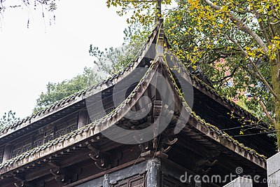 Closeup of Chinese temple eaves