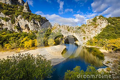 Natural arch over the river at Pont d`Arc in Ardeche
