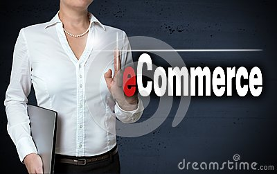 Ecommerce touchscreen is shown by businesswoman