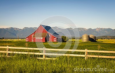 Summer evening with a red barn in rural Montana