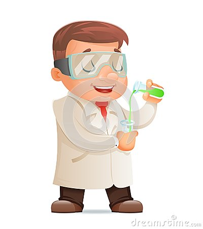 Young Cute Scientist Test-tube Icon Retro 3d Cartoon Design Character Vector Illustration