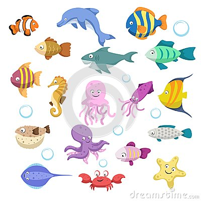 Cartoon trendy colorful reef animals big set. Fishes, mammal, crustaceans. Dolphin and shark, octopus, crab, starfish, jellyfish.
