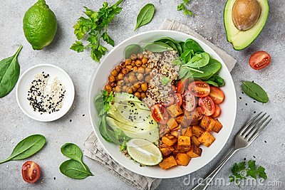 Healhty vegan lunch bowl. Avocado, quinoa, sweet potato, tomato,