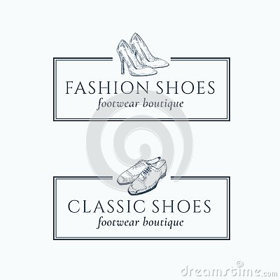 Classic Fashion Shoes Footwear Boutique Abstract Vector Signs