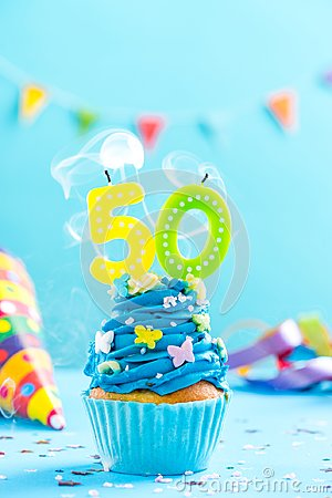 Fiftieth 50th birthday cupcake with candle blow out.Card mockup.