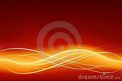 Glowing abstract wave background in flaming red go