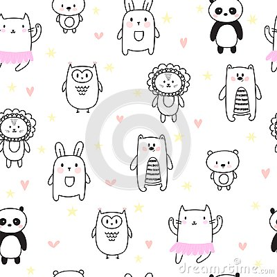 Hand drawn seamless pattern for children. Background for cute little boys and girls with funny animals. Doodle children drawing ba