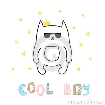 Cool boy. Cute hand drawn postcard with funny cat. Poster for little boys. Doodle style. Sketchy character