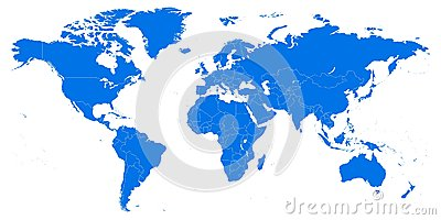 Highly detailed world map. Vector illustration, template