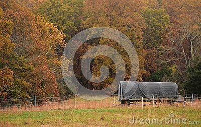 Moveable chicken coop in the fall