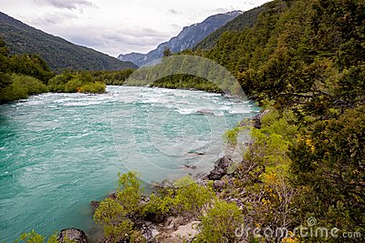 Fast green river.Pure nature at Palena region, Carretera Austral in Chile - Patagonia
