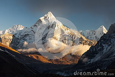 Ama Dablam 6856m peak near the village of Dingboche in the Khumbu area of Nepal, on the hiking trail leading to the