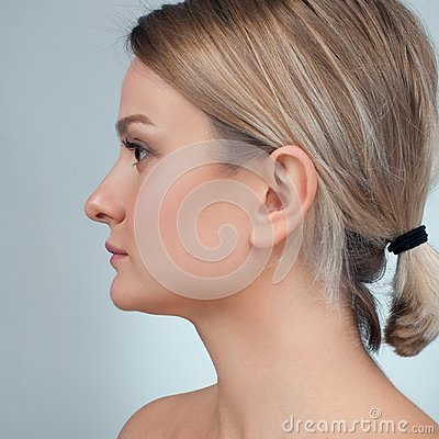 Woman before plastic surgery. Rhinoplasty. Anti-aging treatment and face lift.