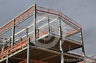 Steel frame and roof of a building under construction