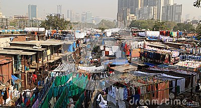 A view of Dhobi Ghat - rows of washing